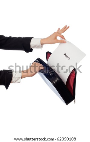 Investigator examines in details the proofs reported by advocate - stock photo