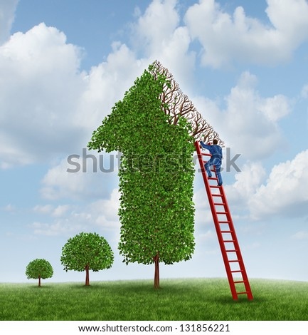 Investing advice and financial help with a tree shaped as an upward arrow with missing leaves on the branches and a businessman climbing a red ladder to inspect the wealth management problem. - stock photo