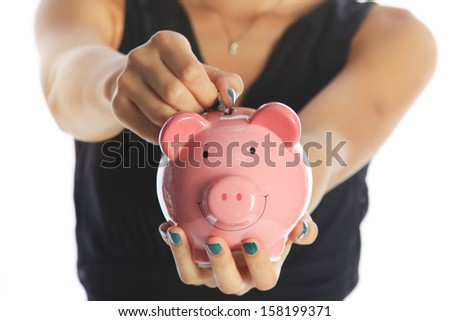 Investing for the Future Woman Saving Money