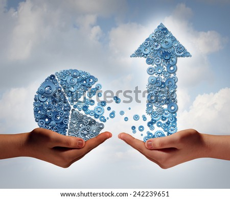 Investing in growth financial business concept as two hands holding a finance pie chart and arrow made of machine gears and cog wheels as a symbol supporting technology with growth potential. - stock photo