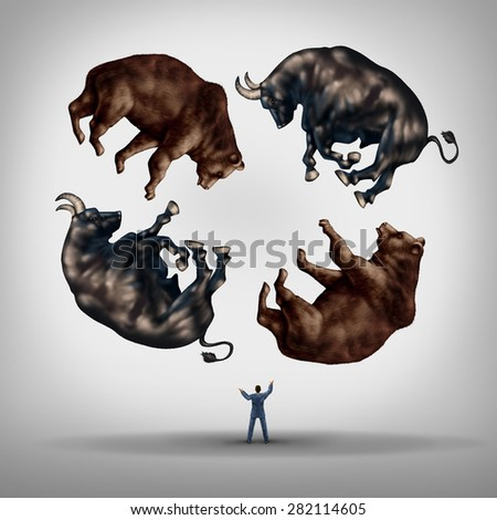 Investing in stocks concept as a financial advisor or stock broker businessman juggling a group of bears and bulls as a symbol and metaphor for the challenge and skill for financial management. - stock photo