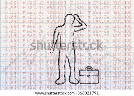 investing in the financial markets: desperate trader in front of negative stock exchange performance - stock photo
