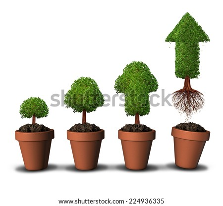 Investing money and financial growth success concept as a group of plant pots as  growing trees with a tree shaped as an arrow taking off upward free from constraints as an economic investment icon. - stock photo