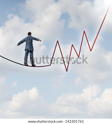 Investing risk and financial leadership skill as a business concept and metaphor conquering adversity as a businessman walking on a high wire tight rope  shaped as a stock market graph on a sky.