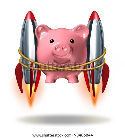 Investing Success and new wealth management solutions to grow your finances fast  as a pink piggy bank with rocket engines blasting off as a successful financial strategy as strong growth potential. - stock photo