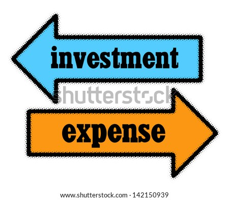 Investment and expense signs in blue and orange arrows concept - stock photo