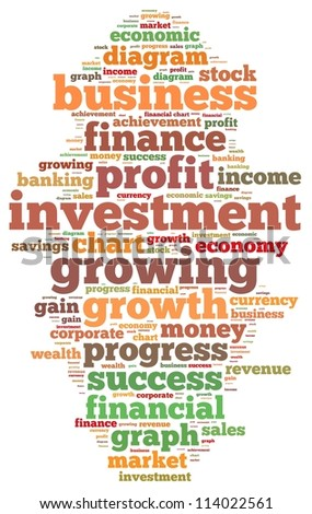 Investment and profit info-text graphics and arrangement concept on white background (word cloud) - stock photo