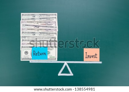 Investment and return balance concept, words and drawing on blackboard - stock photo