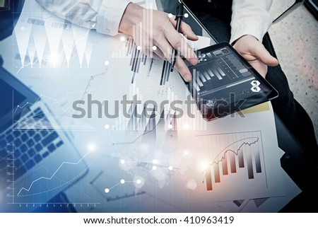 Investment banker working process.Picture trader work market report modern tablet.Use electronic device.Graphic icons,stock exchange reports interfaces.Business project startup.Horizontal,film effect - stock photo