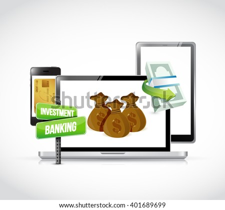 Investment Banking concept on a set of responsive gadgets. illustration design - stock photo