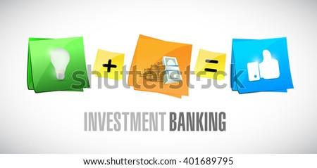 Investment Banking post it set illustration design graphic - stock photo