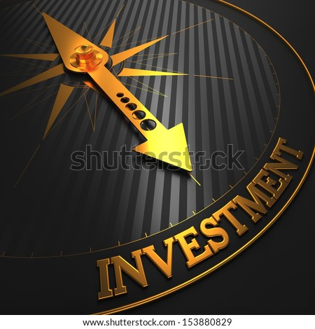 "Investment - Business Background. Golden Compass Needle on a Black Field Pointing to the Word ""Investment"". 3D Render. - stock photo"