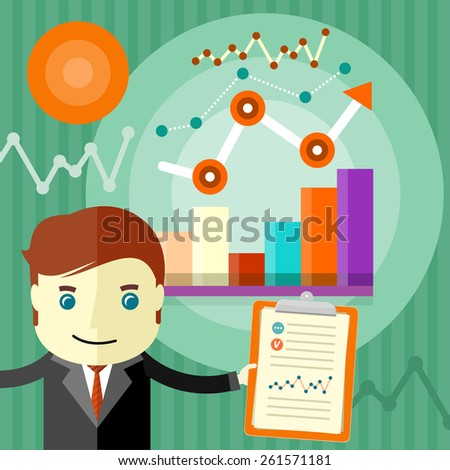 Investment chart on the clipboard. Income dynamics concept. Man holding a clipboard on which graphics in flat design style on background with graphics and point arrow. Raster version - stock photo