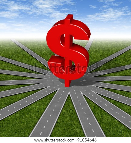 Investment Choices and financial strategies with a red money symbol as a network of connected roads and highways merging to a center point showing the difficult problem in selecting a business plan. - stock photo