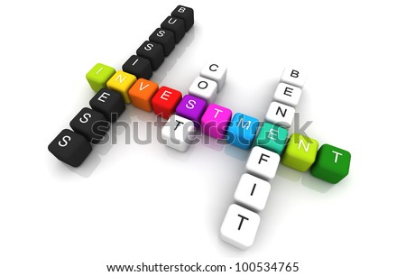 Investment colorful box Crossword 3D render - stock photo