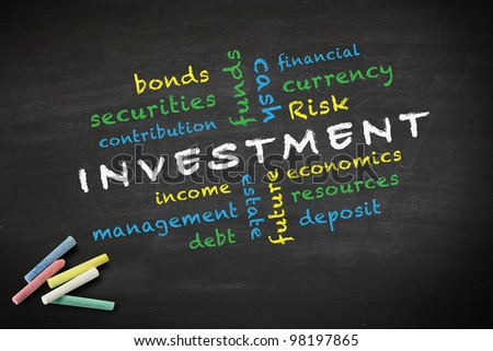 investment concept and other related words, written with chalk on a blackboard. - stock photo