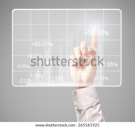 Investment concept,businessman with financial symbols coming from hand