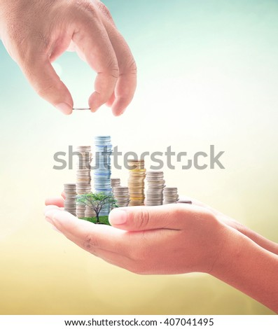 Investment concept. ROI Idea Insurred Seed Bank CSR Trust Debt Food Nature Dollar Seed Support Charity Treasure Safety City Cash Grow Future Deposit Save Bonus Risk Blur Hand Plant Family Gains. - stock photo