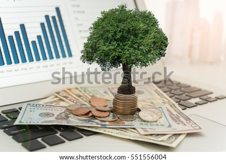 Investment concept. tree grow up on money stack with investment portfolio on desk of fund manager.