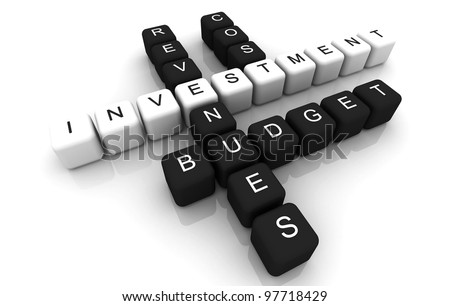 Investment 3D box crossword jigsaw - stock photo