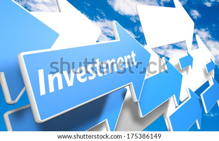 Investment 3d render concept with blue and white arrows flying in a blue sky with clouds - stock photo