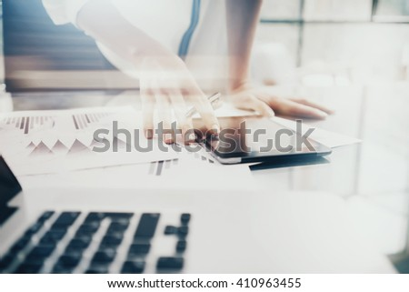 Investment manager work process.Image business woman showing report modern tablet screen.Statistics graphic screen.Banker ready for signs document,new startup.Horizontal,bokeh and film effects - stock photo