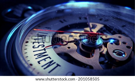Investment on Pocket Watch Face with Close View of Watch Mechanism. Time Concept. Vintage Effect. - stock photo