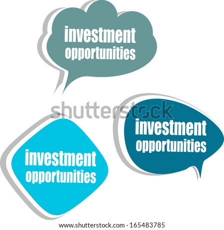 investment opportunities. Set of stickers, labels, tags. Business banners, Template for infographics