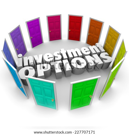 Investment Options 3d words surrounded by doors illustrating many paths or choices for saving money including 401k, ira, annunity, stocks or bonds - stock photo