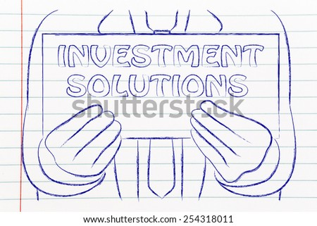 investment solution sign in the hands of a business man  - stock photo