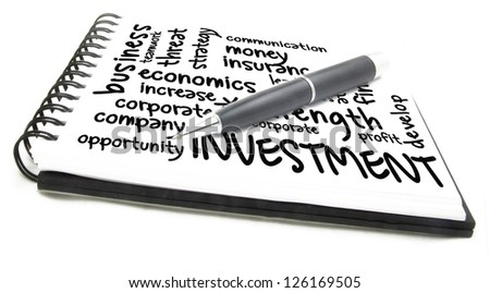 investment word cloud notes - stock photo