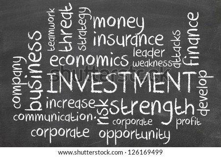 investment word cloud on blackboard - stock photo