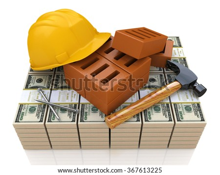 Investments in the construction industry - safety helmet, tools and money in the design of information related to business and construction - stock photo