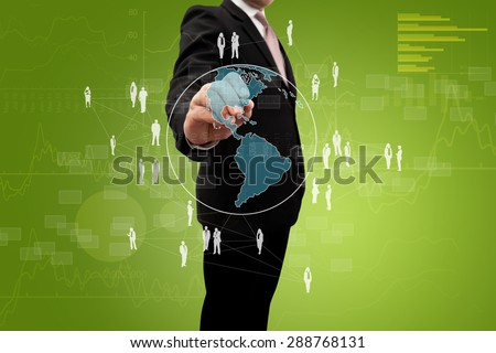 Investor drawing a social network. - stock photo