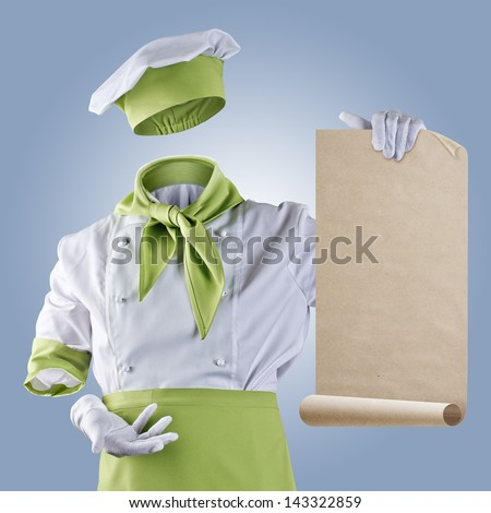 invisible chef shows the menu on a blue background - stock photo