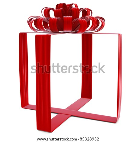 invisible gift bandaged velvet ribbon. isolated on white. - stock photo