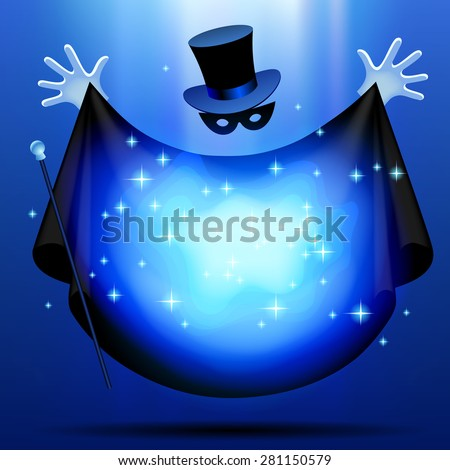 Invisible magician in top hat  and mask with black cloak performing a magic act with blue luminous cloud. Wizard art - stock photo