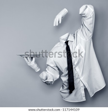 Invisible Man with a plate in his hand - stock photo