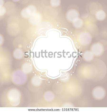 Invitation, anniversary card with white floral label for your personalized text and magic bokeh background. Perfect as invitation or announcement. For vector version, see my portfolio. - stock photo