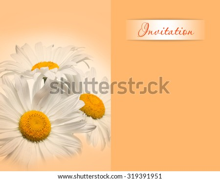 Invitation card,  Floral artistic background, colorful soft blur style. Chamomiles, daisy flowers image.  - stock photo