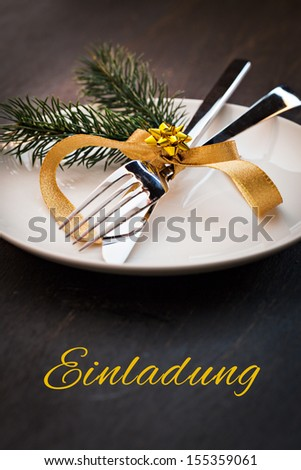 invitation card german text for christmas menu einladung  - stock photo