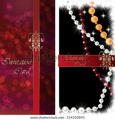 Invitation card red and black with ribbon - stock photo