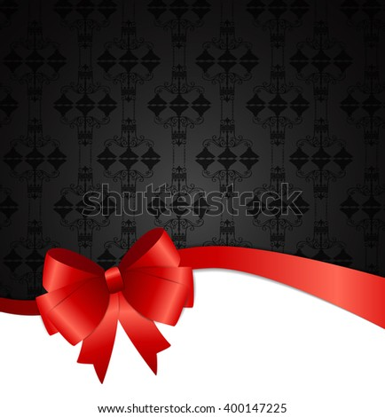 Invitation Card with Bow, Ribbon and Copy Space. Illustration - stock photo