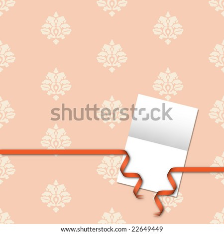 Invitation card with copyspace with damask background and orange curly ribbon - stock photo
