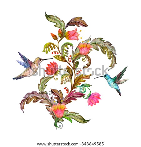 invitation card with fancy flora and birds. watercolor painting - stock photo