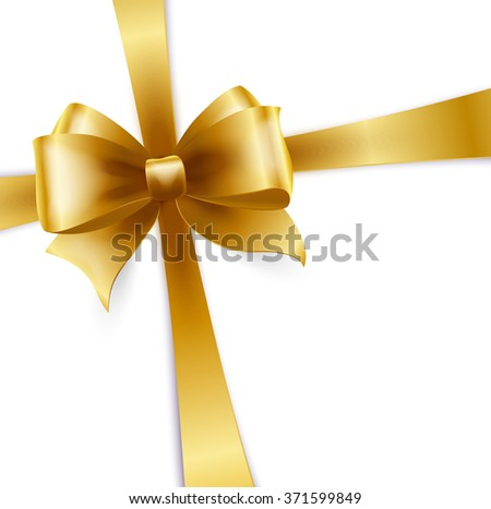 Invitation card with gold holiday ribbon and bow