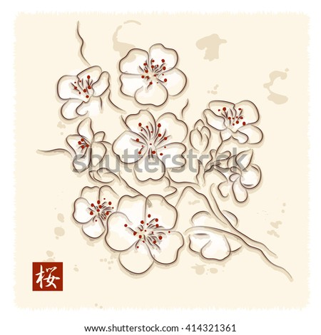 Invitation card with Japan Cherry blossom drawn in watercolor style.