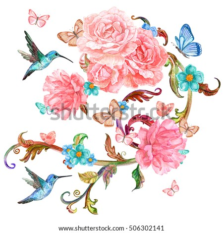invitation card with lovely roses and birds. watercolor painting