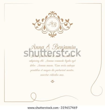 Invitation card with monogram. Wedding invitation, Save The Date. Vintage invitation template.  - stock photo