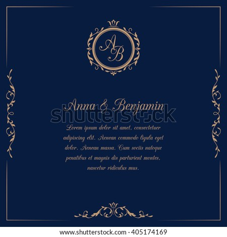 Invitation Card Monogram On Dark Blue Stock Illustration